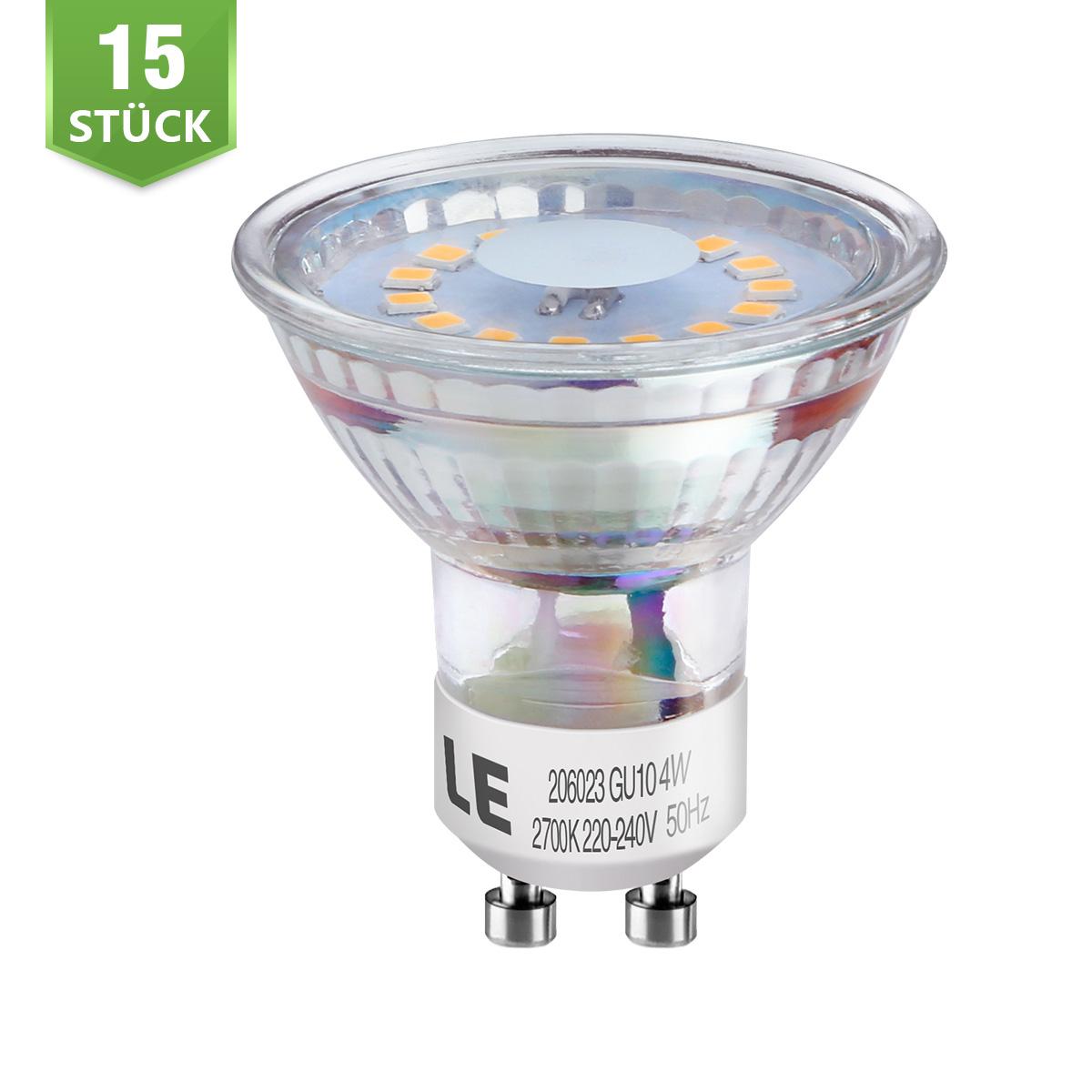 [Bündel] 3,5W GU10 MR16 LED Spot, 350lm Leuchtmittel, Ersatz für 50W Halogen, Warmweiß, 15er Set