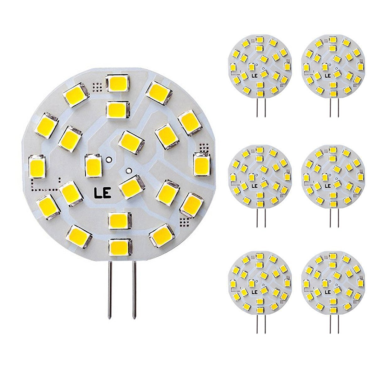 [Bündel] 3W G4 LED Stiftsockellampe mit 21 LEDs, 12V 280lm Bi-Pin Disc Lampe, ersetzt 40W Halogenlampe, Warmweiß, 6er Set