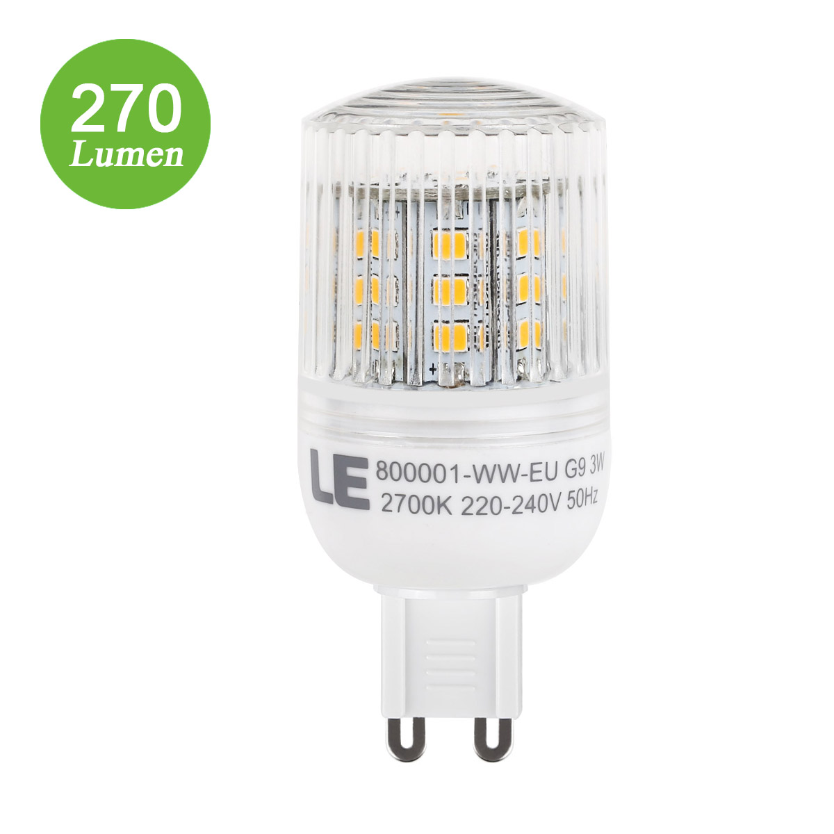3W G9 LED Maiskolben, 270lm Maisbirne, 240° Strahler, entspricht 25W Glühlampe, Warmweiß
