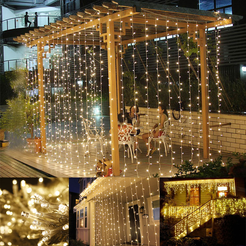 3M x 3M LED Lichtervorhang, 8 Modi, 306 LEDs, Lichterkette, Warmweiß, Weihnachtsbeleuchtung/ Hochzeit