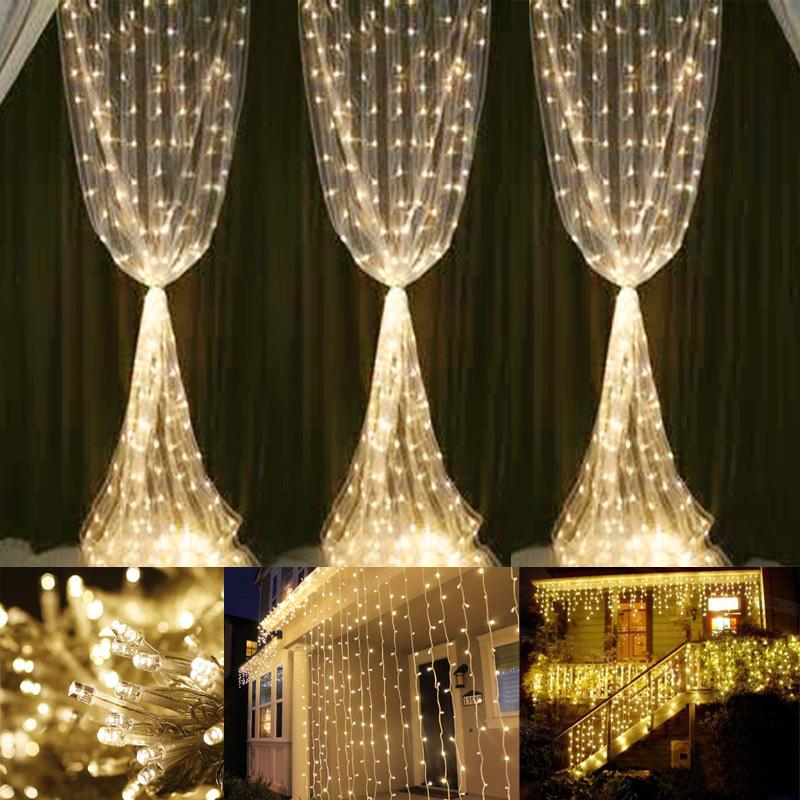 3x6m LED Lichtervorhang, 8 Modi, Lichterkette mit 594 LEDs, Verbindbar, Warmweiß, Dekobeleuchtung