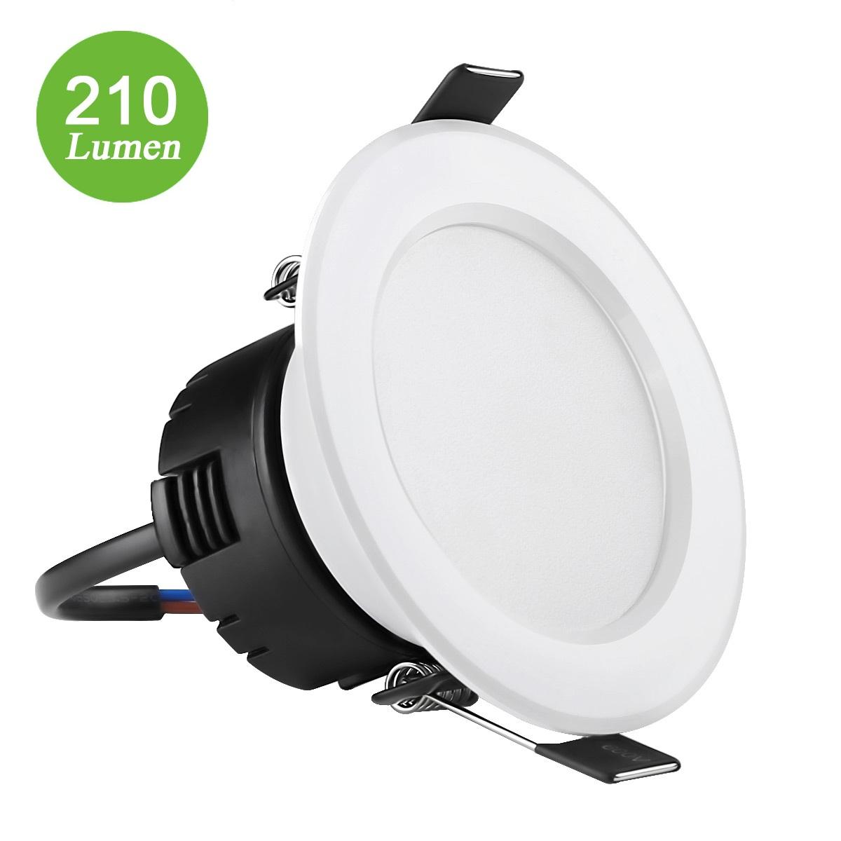4W LED Deckeneinbauleuchten, 210lm Deckenspots, 75mm, entspricht 30W Halogenlampe, Warmweiß