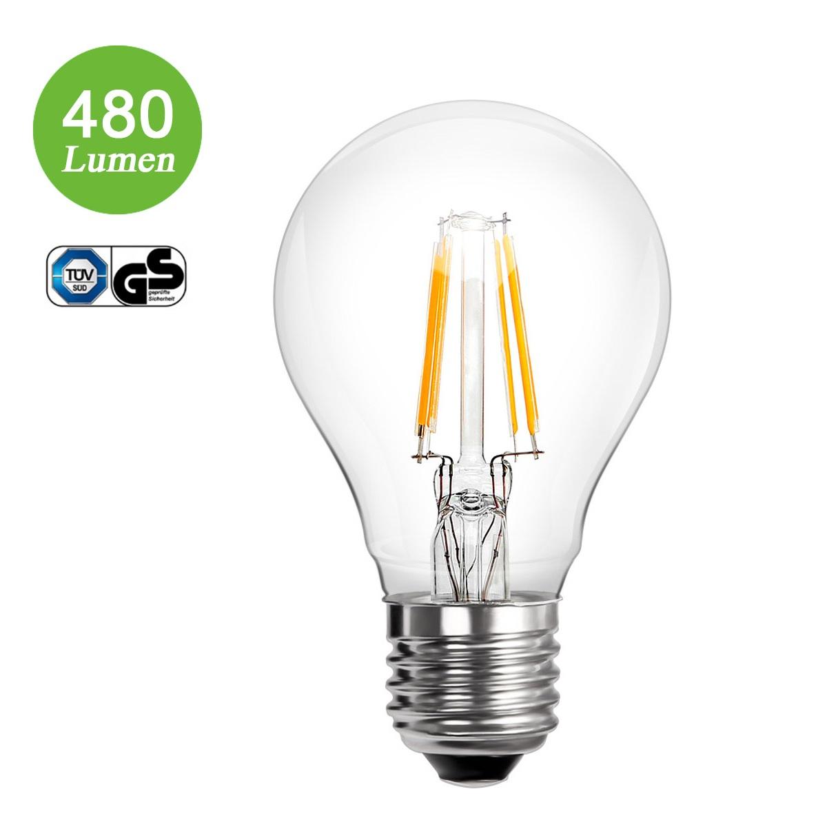4W A60 LED Glühfaden Birnen, 360° Strahler, Ersatz für 40W Glühlampe, Warmweiß