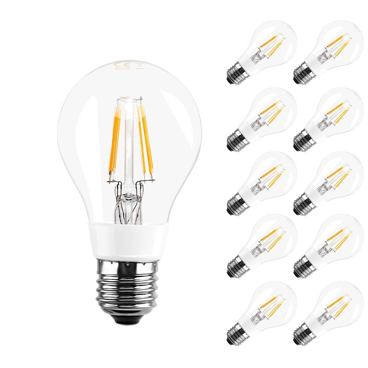 [Bündel] 4W A60 LED Glühfaden Birnen, 360° Strahler, Ersatz für 40W Glühlampe, Warmweiß, 10er Set