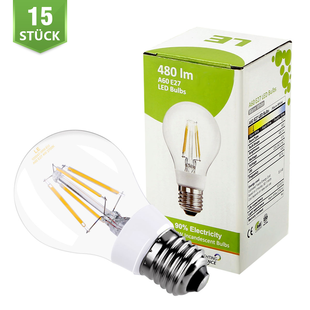 [Bündel] 4W A60 LED Glühfaden Birnen, 360° Strahler, Ersatz für 40W Glühlampe, Warmweiß, 15er Set