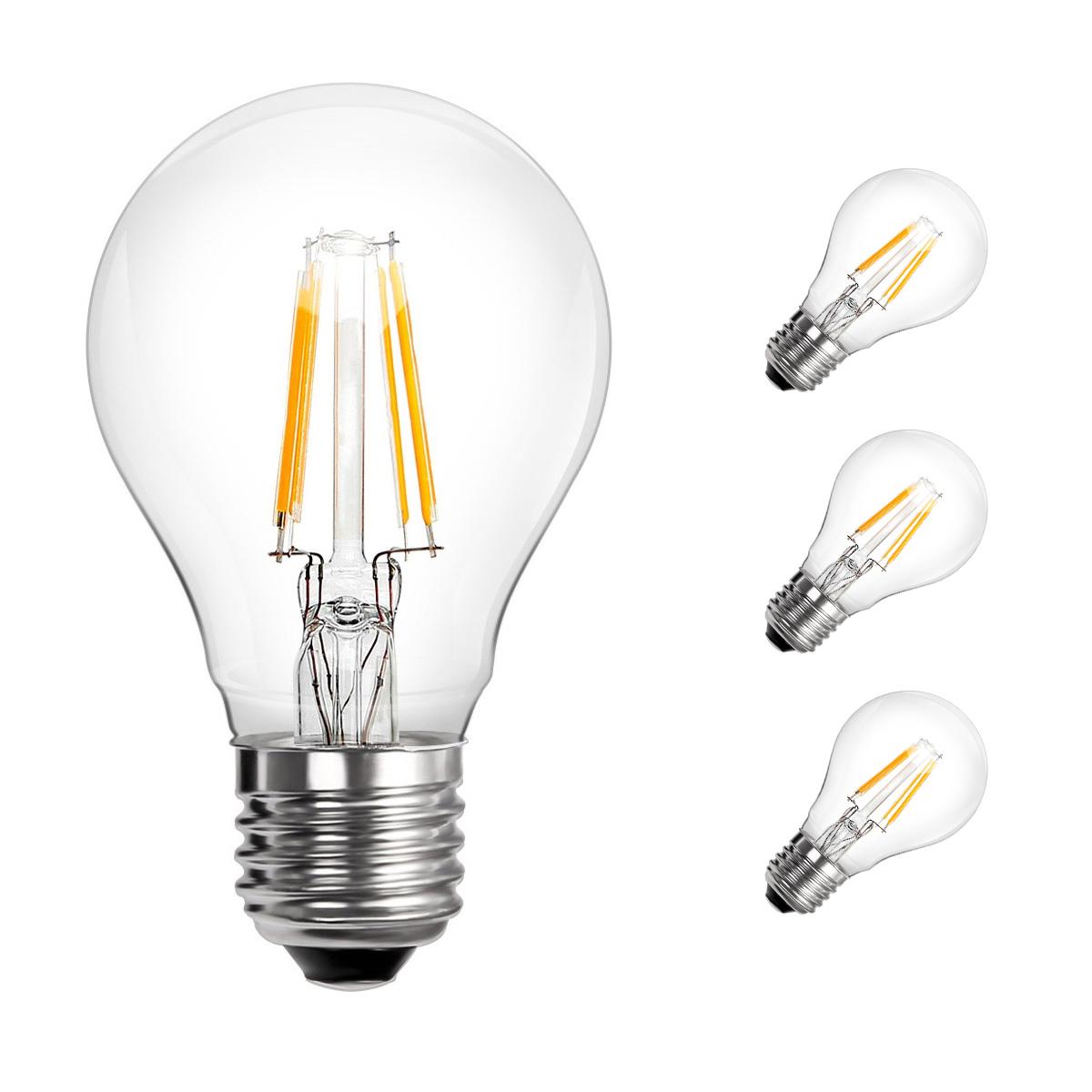 [Bündel] 4W A60 LED Glühfaden Birnen, 360° Strahler, Ersatz für 40W Glühlampe, Warmweiß, 3er Set