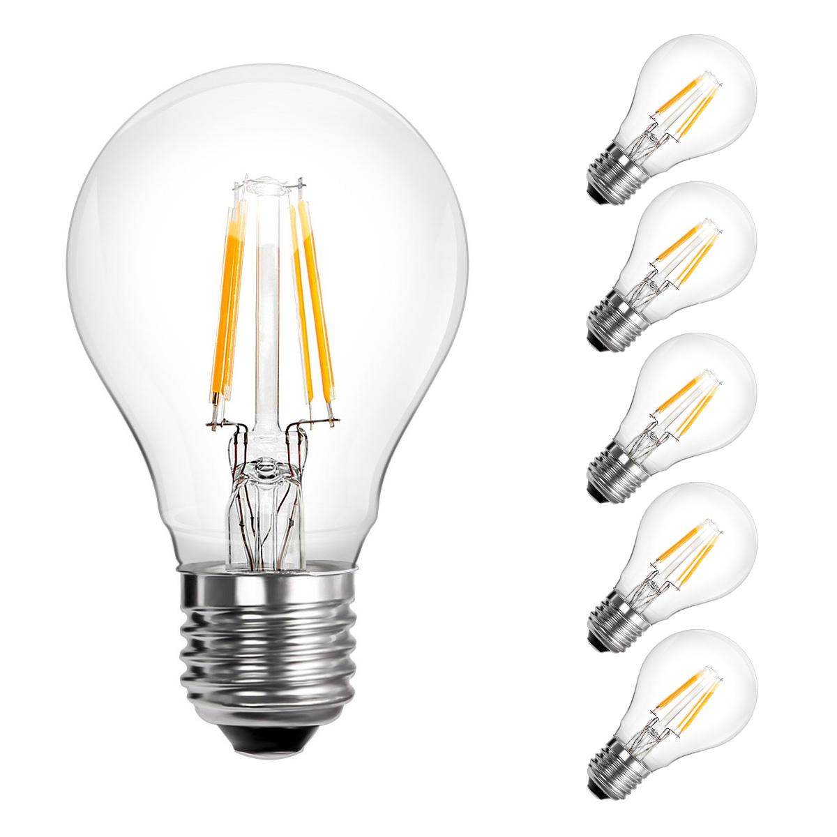 [Bündel] 4W A60 LED Glühfaden Birnen, 360° Strahler, Ersatz für 40W Glühlampe, Warmweiß, 5er Set