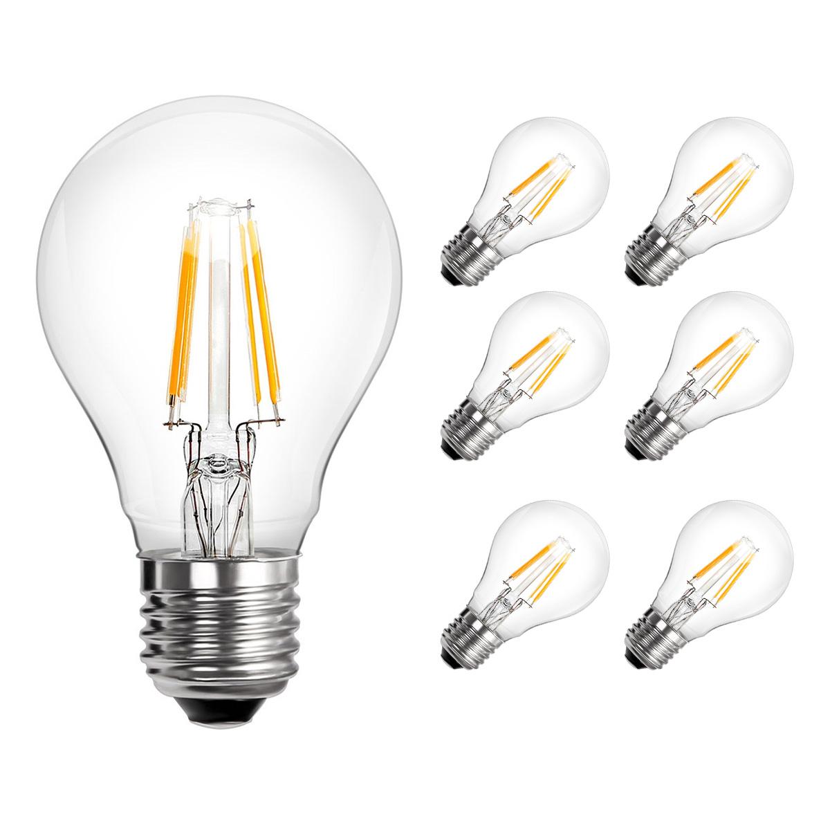 [Bündel] 4W A60 LED Glühfaden Birnen, 360° Strahler, Ersatz für 40W Glühlampe, Warmweiß, 6er Set