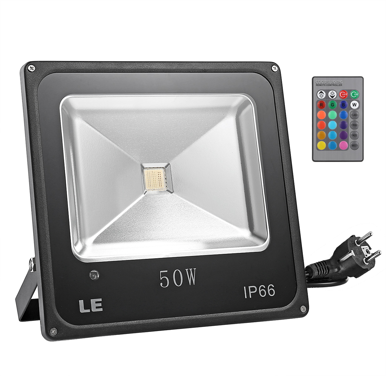 50W LED RGB Strahler, fernbedient Fluter, 16 Farben & 4 Modi, Wasserdicht, Farbwechsel