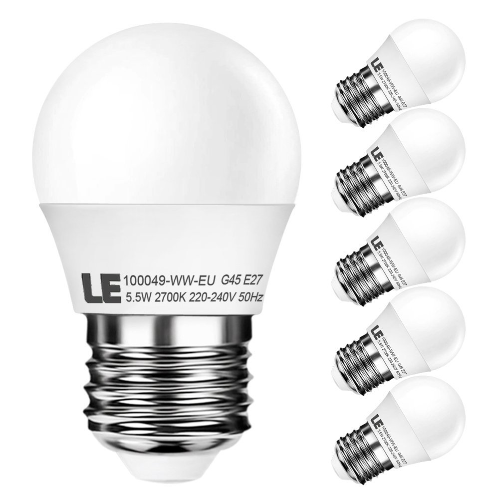 5,5W G45 E27 LED Birnen, 420lm, Entspricht 40W Glühlampe, Warmweiß, Golfball-Lampen, 5er Pack