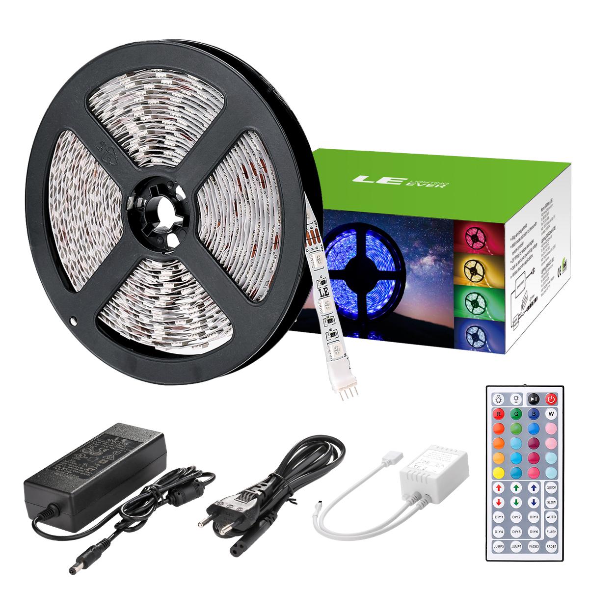 5M 12V RGB LED Streifen Set, 300 LEDs 5050, Mehrfarbig LED Lichtleiste, Non-Wasserdicht, Dekorbeleuchtung für Weihnachten Party