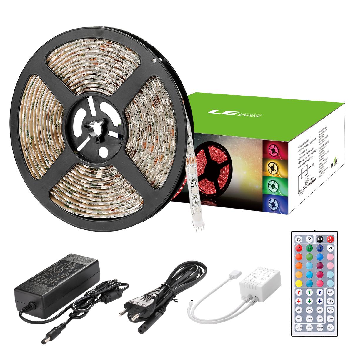 5M RGB LED Streifen Set, 300 x 5050 LEDs, Mehrfarbig LED Lichtband, Wasserdicht IP65, Lichtleiste für Dekor