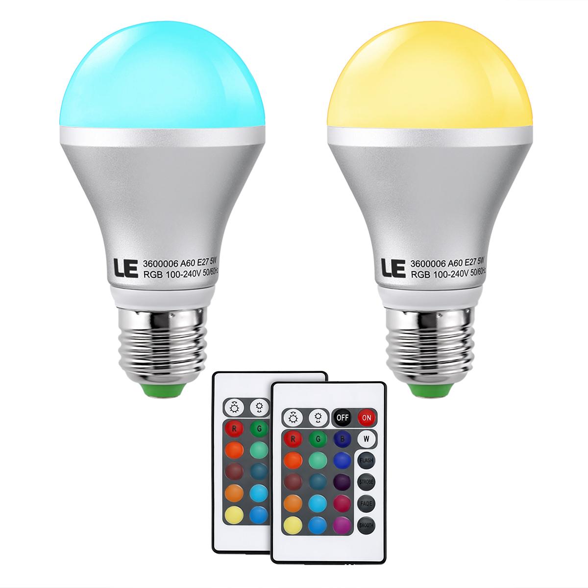 5W A60 E27 RGB LED Glühbirnen inkl. Fernbedienung, Dimmbar 16 Farben, Stimmungslicht, 2er Set