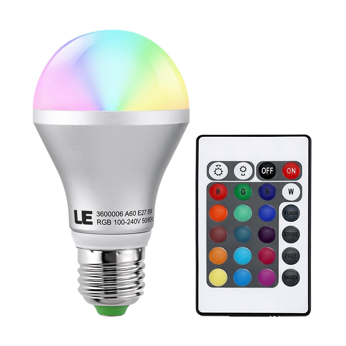 5W A60 E27 RGB LED Glühbirnen inkl. Fernbedienung, Dimmbar 16 Farben, Stimmungslicht