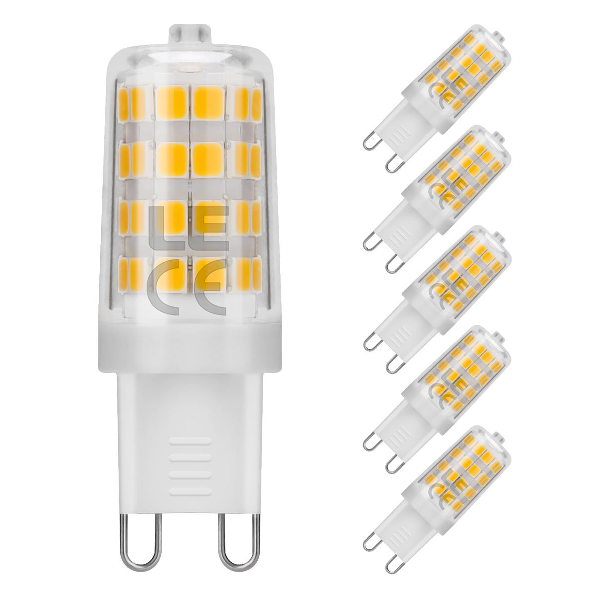 5W G9 LED Lampen, 340lm LED Birnen, 360° Beleuchtung, ersetzt 50W Halogenlampen, LED Leuchtmittel, Warmweiß, 5er Set