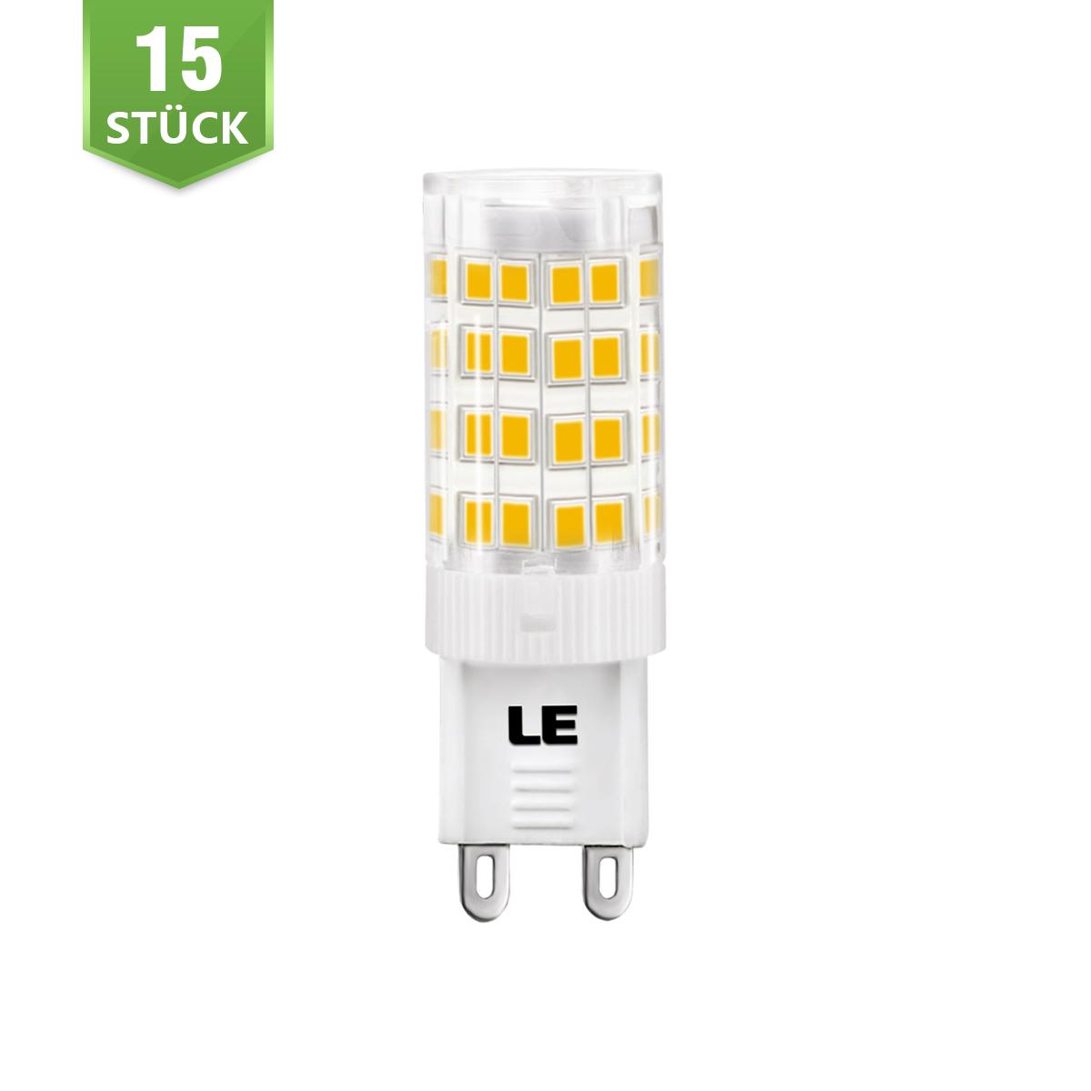 [Bündel] 5W G9 LED Maiskolben, 340lm Maisbirne, 360° Beleuchtung, Ersatz für 50W Halogenbirne, Warmweiß, 15er Set
