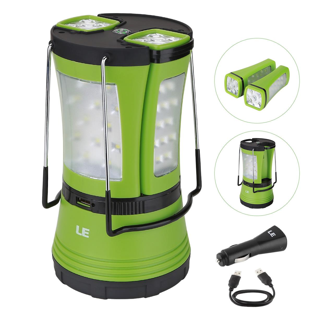 600lm Wiederaufladbare Camping Laterne mit 2 abnehmbaren Mini Taschenlampen, IPX4 Zeltleuchte, USB-Kabel + KFZ-Ladegerßt inkl.