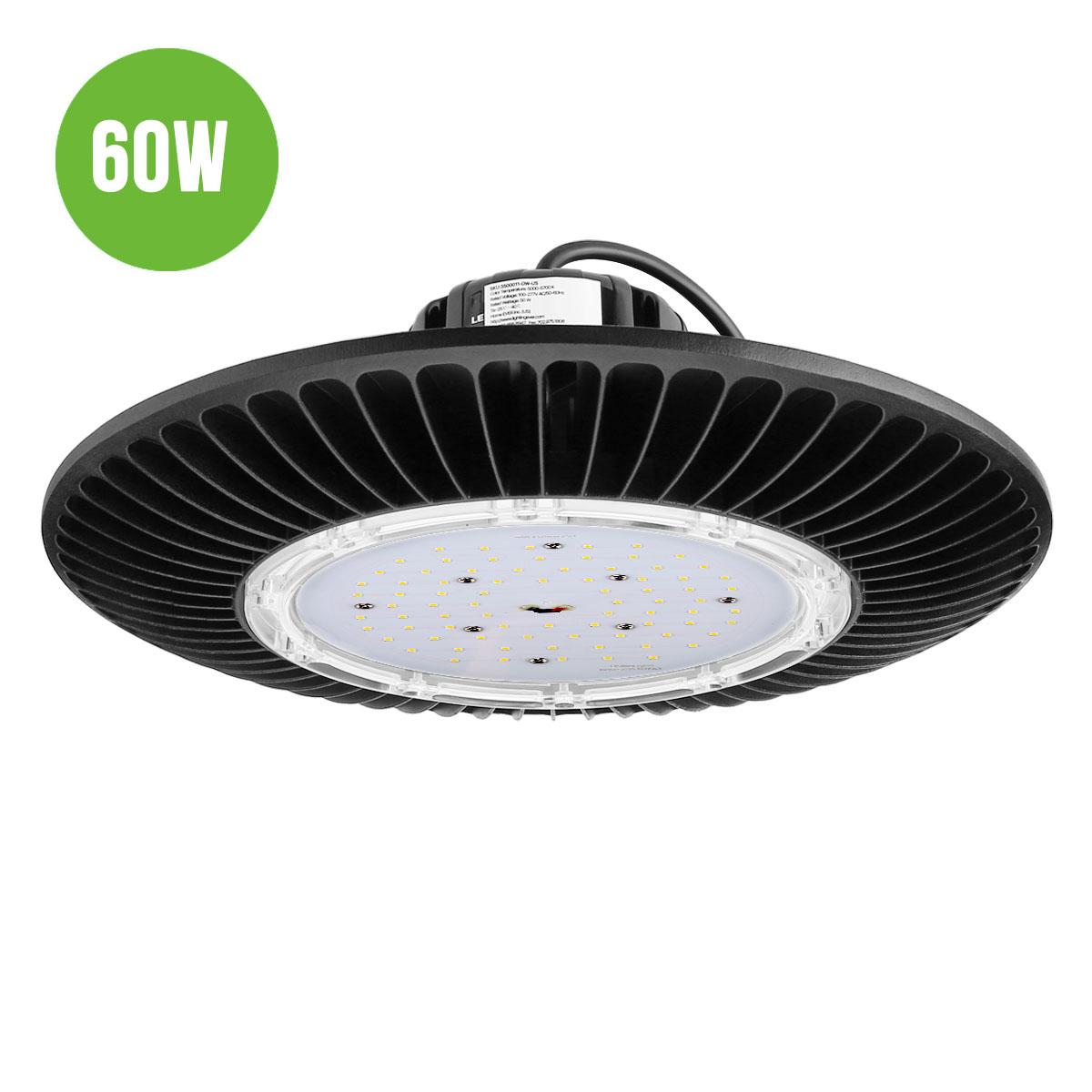 60W LED UFO Hallenstrahler, 7200lm Hallenbeleuchtung, wasserfeste Industrielampe, ersetzt 150W Halogen Metalldampflampe, Kaltweiß