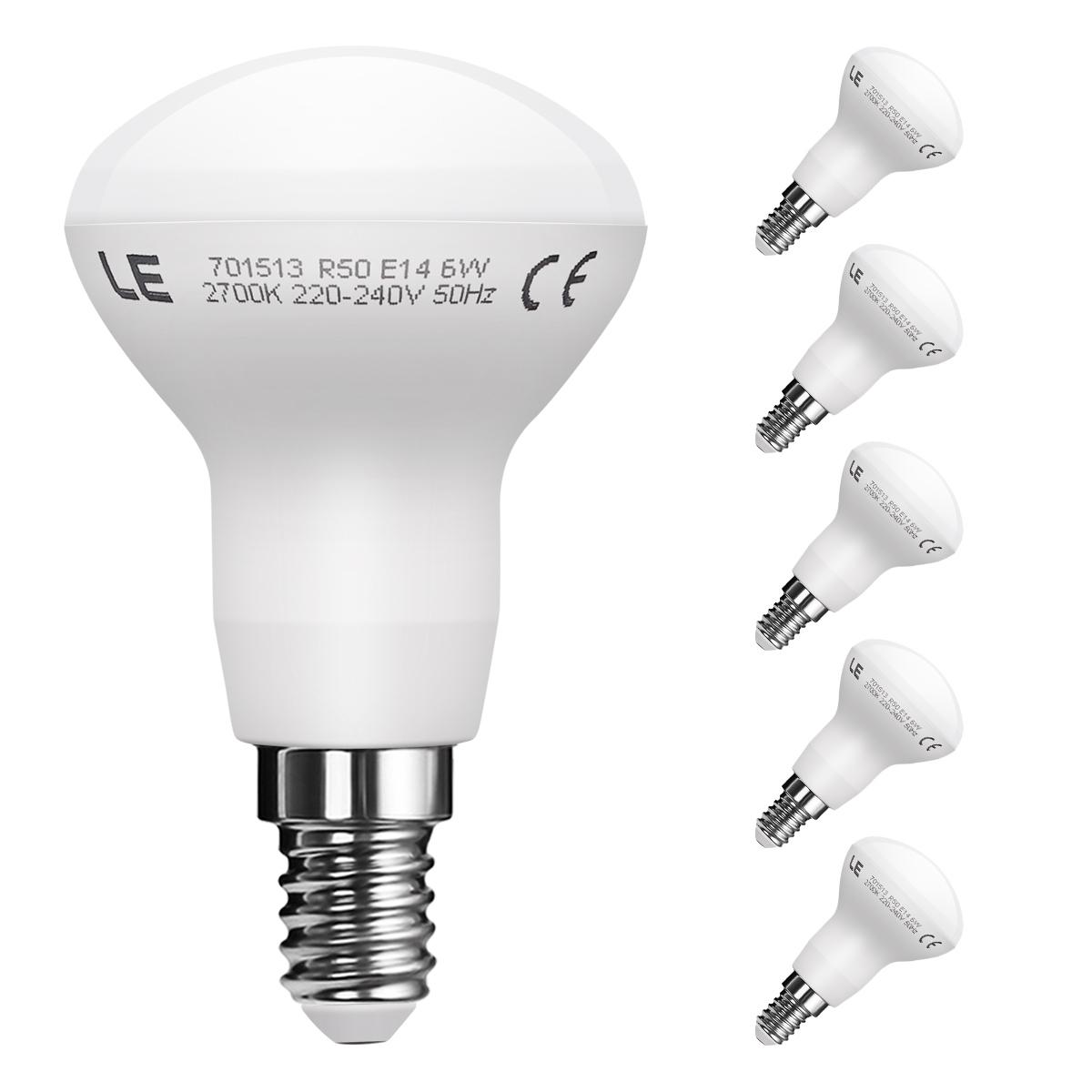 6W LED Reflektor R50, 5er Set, E14 450lm SES Birnen, 120 ° Strahler, 45W Glühlampen Equivalent, Warmweiß