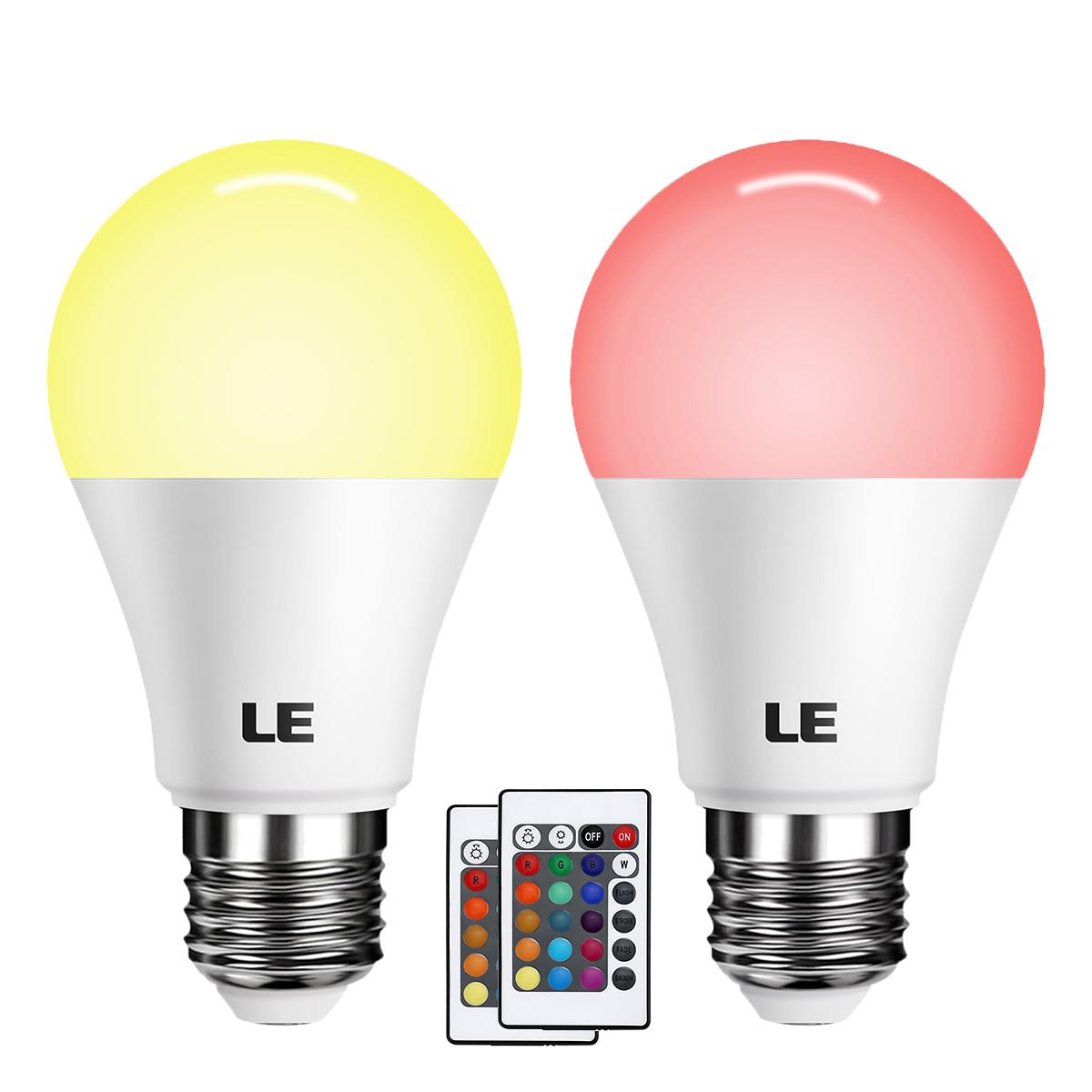6W RGB E27 LED Lampen, Farbwechsel, Dimmbar, A60 LED Birnen,  Fernbedienung inklusive, LED Leuchtmittel, Stimmungslicht, 2er Set