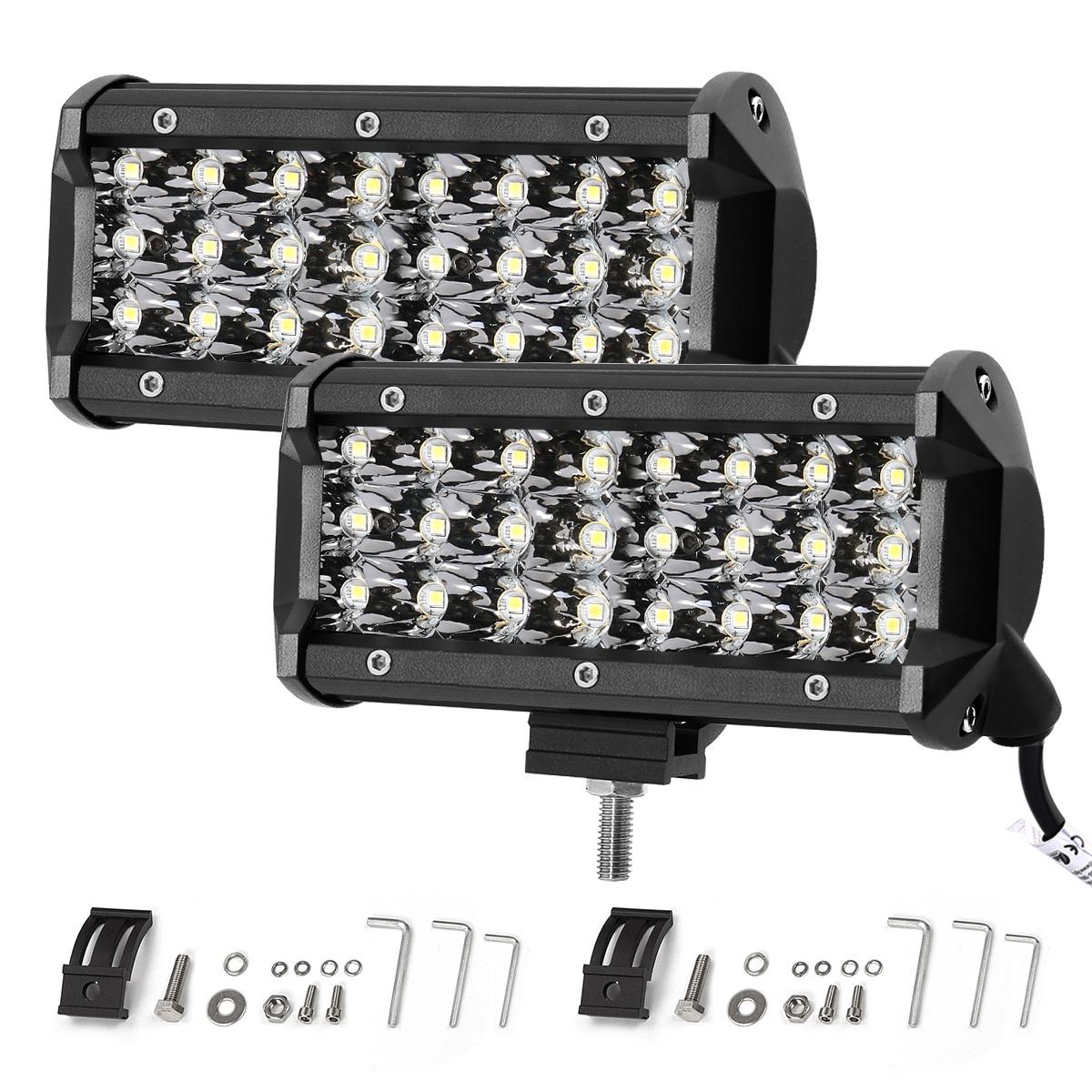 72W LED Zusatzscheinwerfer, 7200lm Waserdicht, LED Arbeitsscheinwerfer für Gelßndewagen ATV SUV Jeep Boot, Flutlicht, LED Nebelscheinwerfer, 2er Pack