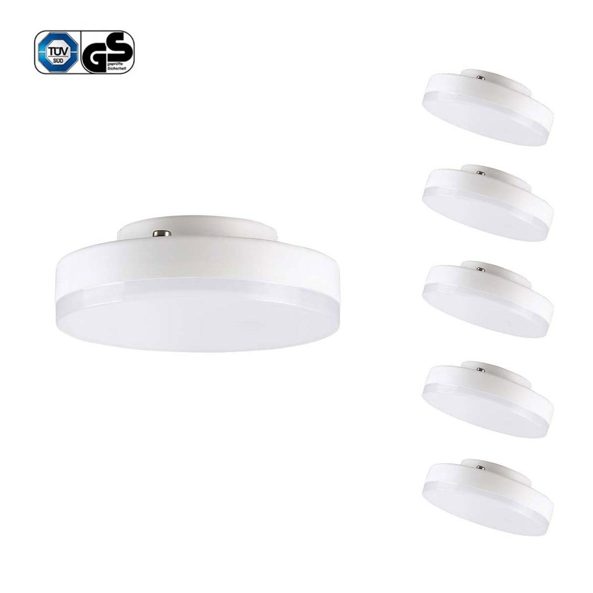 7W GX53 LED Disc Lampe, ersetzt 60W Glühlampe oder 12W Natriumhochdrucklampe, Warmweiß, 5 Stück