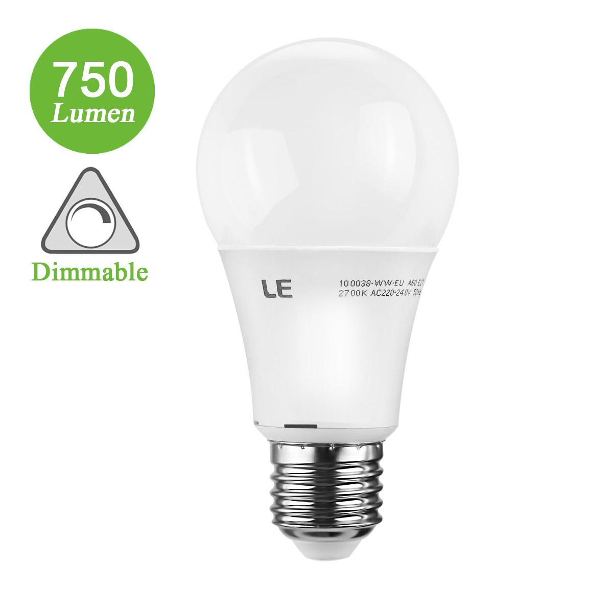 9.5W Dimmbare A60 E27 LED Lampen,  750lm Edison Lampen, ersetzt 60 Watt Glühlampe, Warmweiß