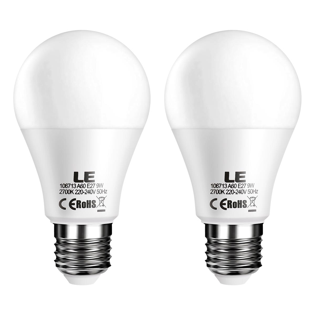 9W E27 A60 LED Lampen, 800lm, Warmwei? 2700K LED Birnen, 200° Abstrahlwinkel, ersetzt 60W Glühbirne, 2er Pack