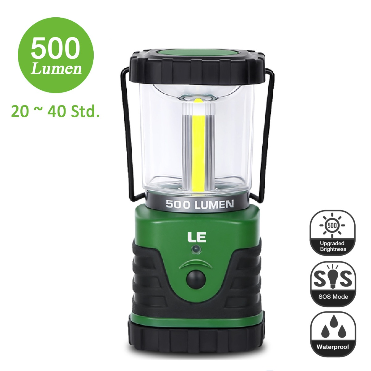 9W LED Camping Laterne, 500lm Campinglampe, 3 Modi, Batteriebetrieben, Kaltweiß