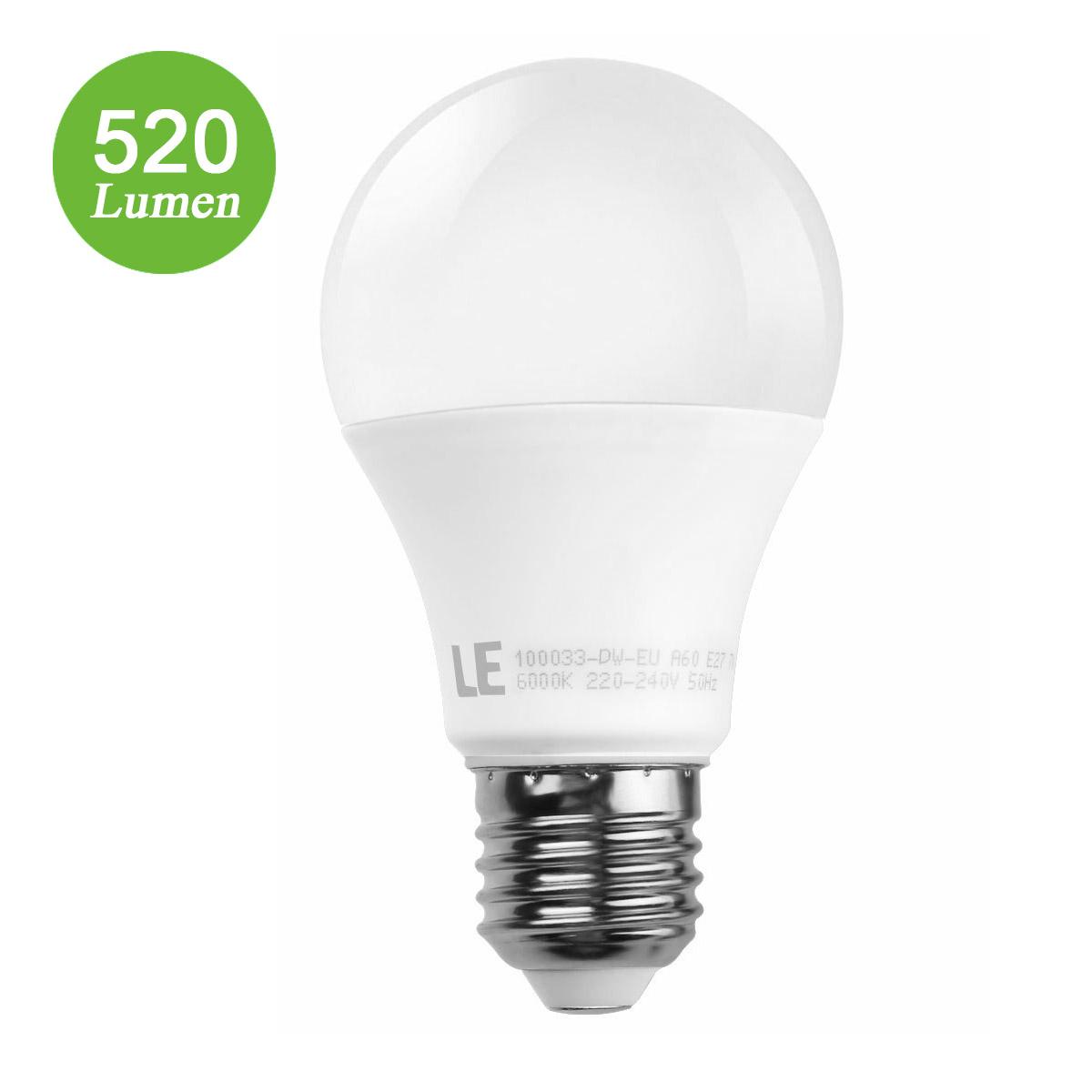 7W E27 LED Birnen, A60 520lm Lampe, Strahler Licht, ersetzt 40W Glühlampe, Kaltweiß