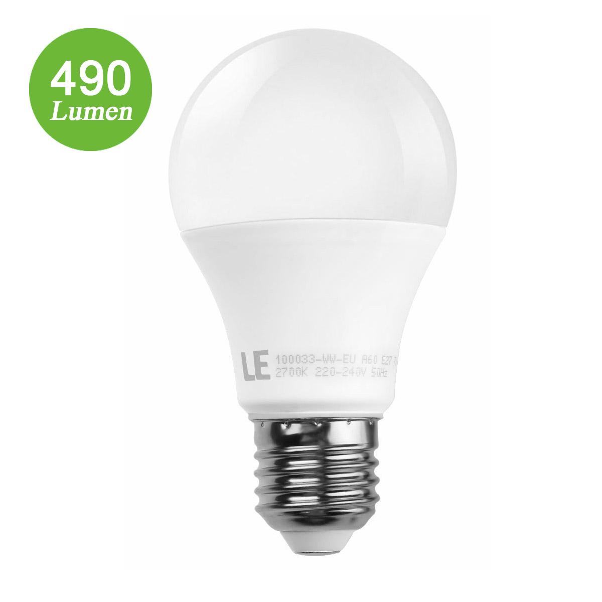 7W E27 LED Birnen, A60 490lm Lampe, Strahler Licht, ersetzt 40W-Glühlampe, warmweiß