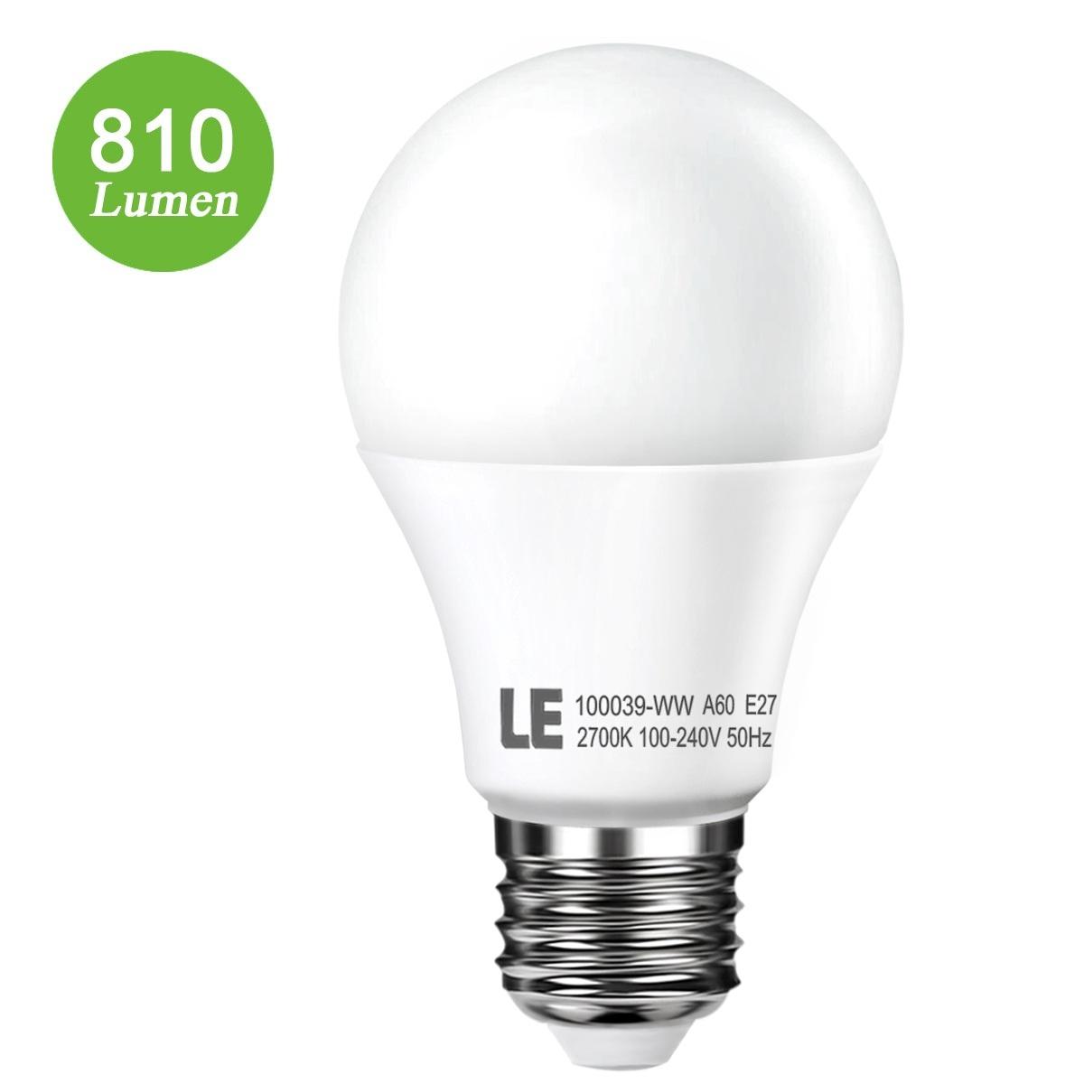 10W E27 A60 LED Birnen,  810lm Lampe, 240° Strahler, ersetzt 60W-Glühlampe, Warmweiß