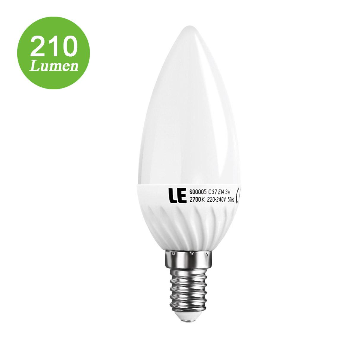 3W E14 LED Kerze,  SES C37 210lm Birnen, entspricht 30W Glühbirne, Warmweiß