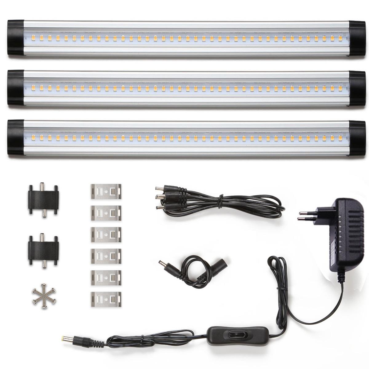 12W LED Unterbauleuchte, Energiesparende Küchenlampen, 3 Panel Deluxe Set, 900lm LED Schrankbeleuchtung mit Stecker, Warmweiß