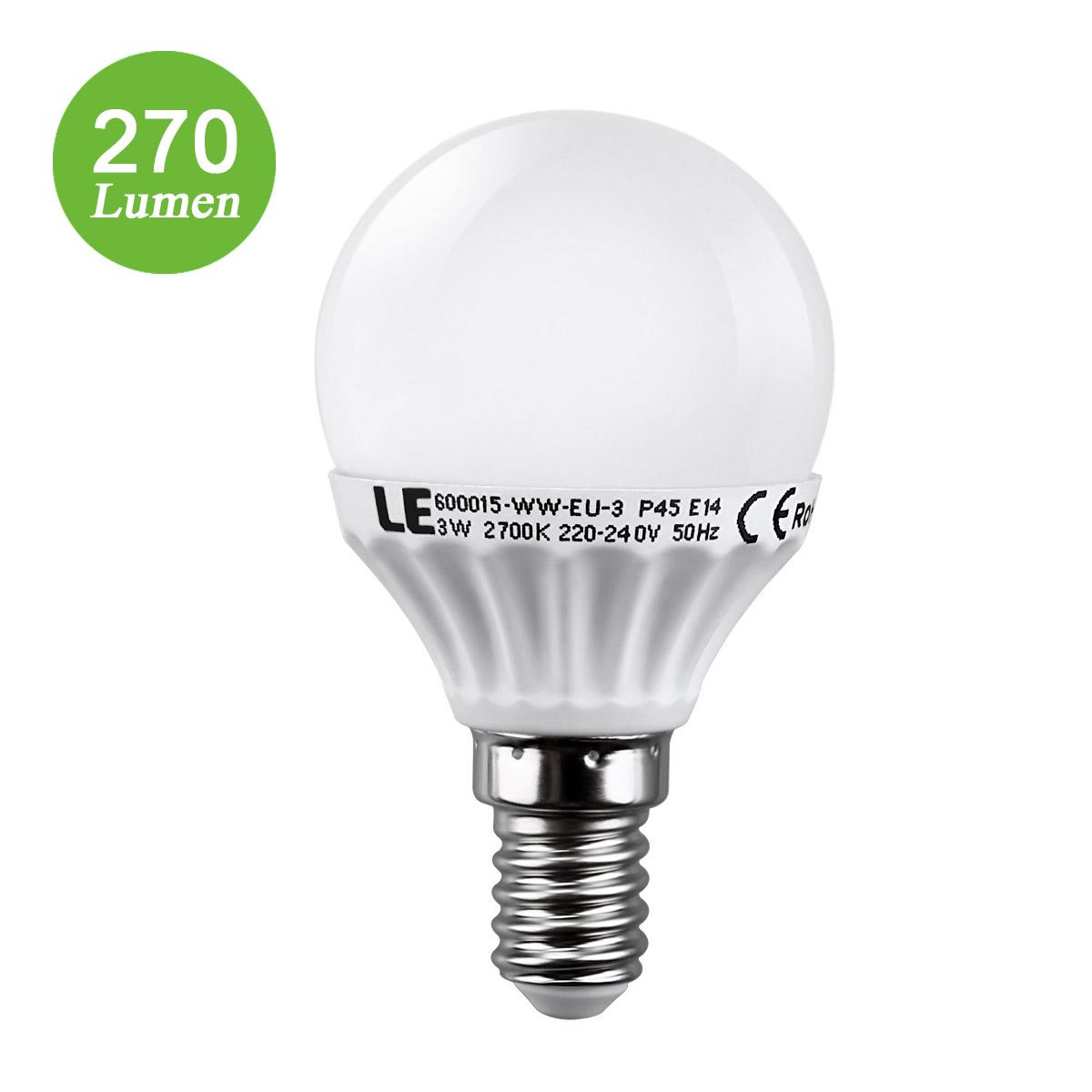 3W E14 P45 LED Birnen, 270lm Golfball Lampen, ersetzt 25W Glühlampe, Warmweiß