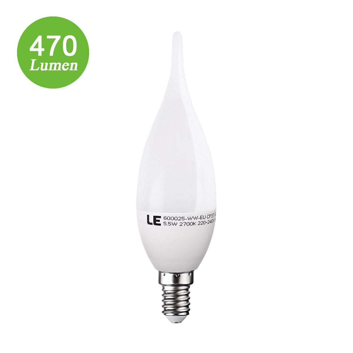 5,5W E14 LED Kerze Windstoß, C37 470lm SES Lampen, ersetzt 40W Glühlampe, Warmweiß