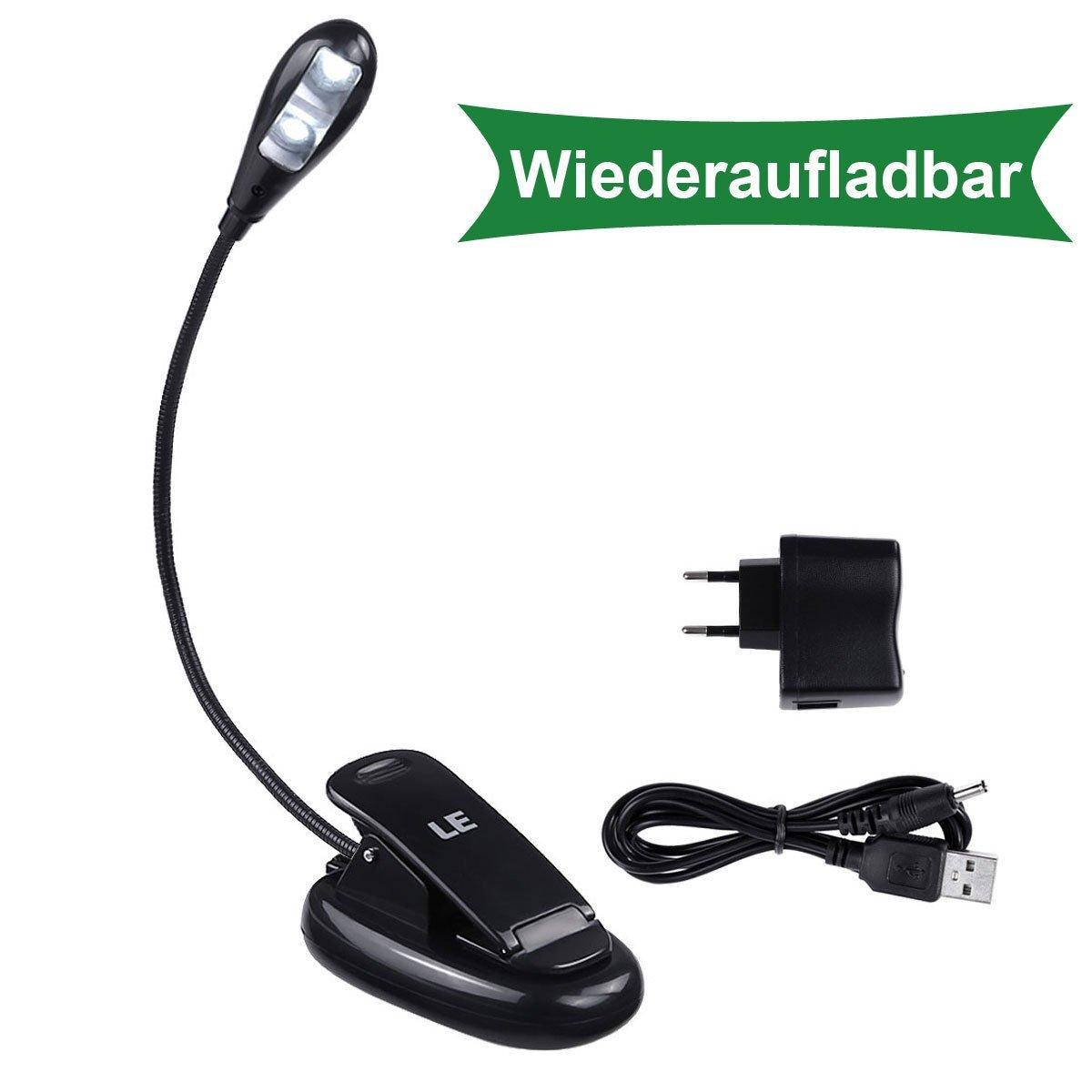 LED Klemmleuchte, 18 Lumen Notenpultleuchte, 2 Modi, USB Aufladebar, Kaltweiß