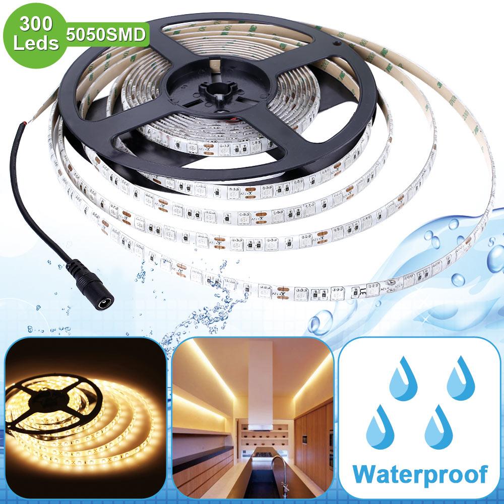 12V LED Band, 720 lm/Meter, Warmweiß, Superhell 300 Stück 5050 SMD, Wasserdicht, 5M