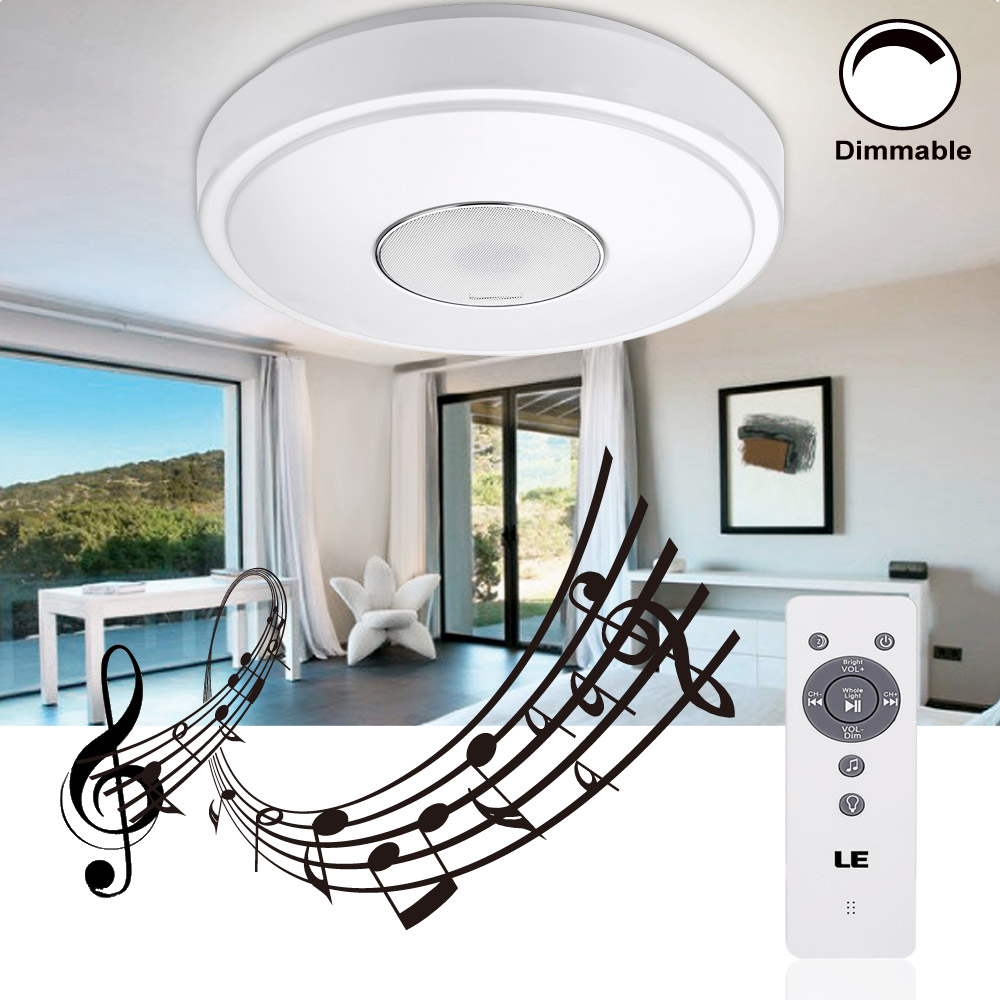 LED Deckenlampen mit Bluetooth Lautsprecher, 24W Dimmbar, 1800lm, Rund ß385mm, Für Musik, IR Fernbedienung inkl.