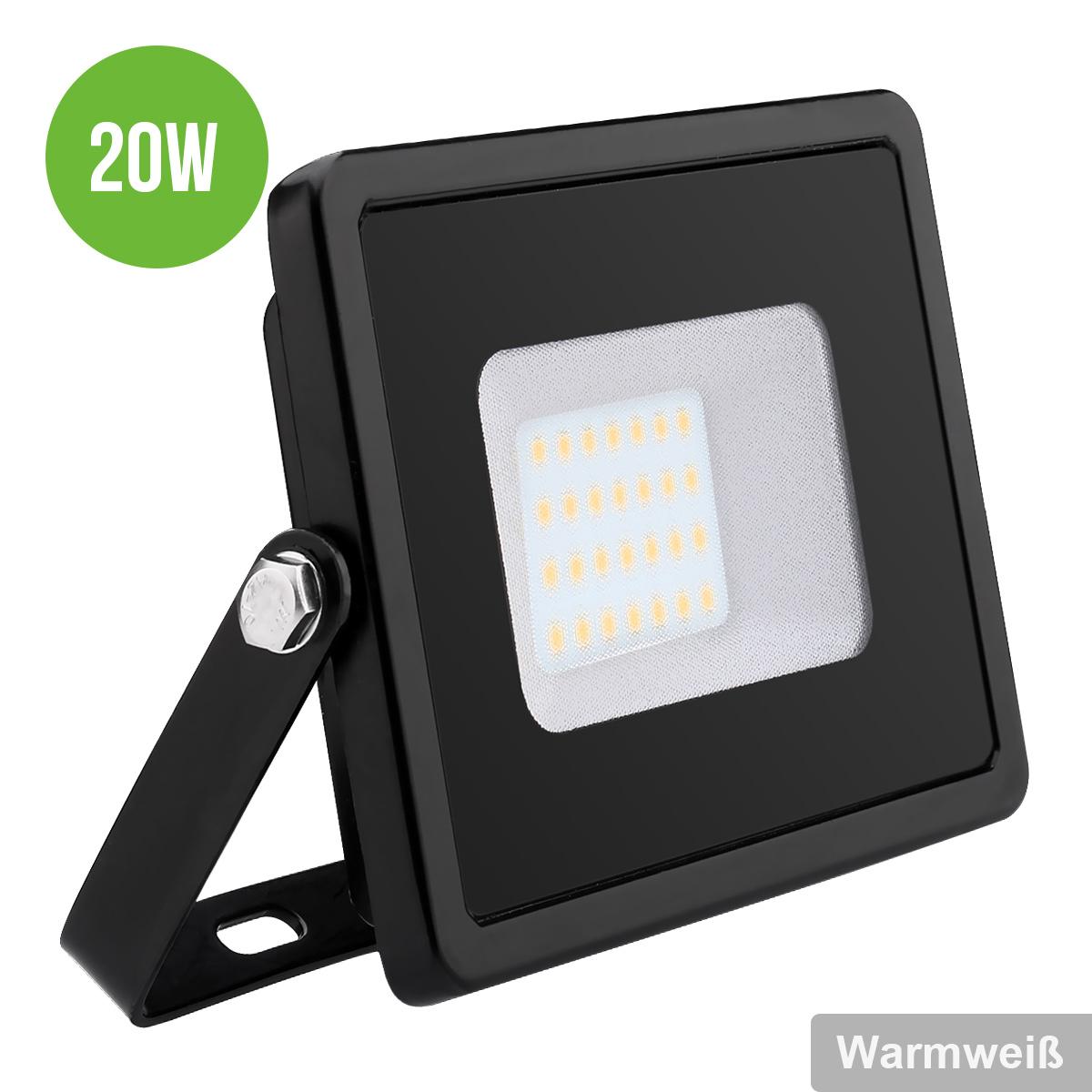 LED Fluter 20W, 1600lm Flutlicht, IP65 Wasserdicht, Warmweiß, ersetzt 200W Halogenlampe, LED Außenleuchten, Flutlichtstrahler, LED Außenleuchten