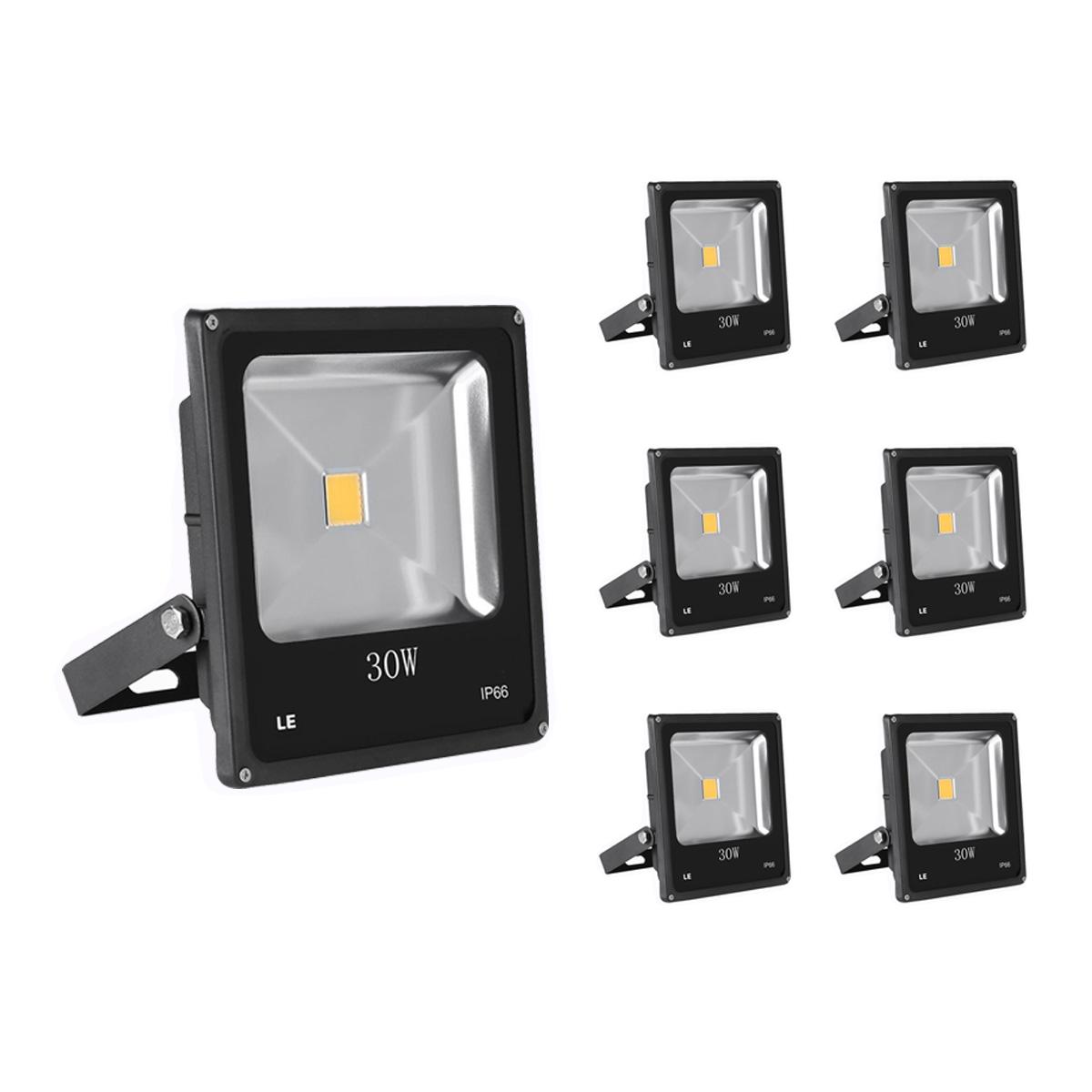 [Bündel] LED Fluter 30W, 1950lm Strahler, ersetzt 75W HS Lampe, Wasserdicht, Außenleuchten, Warmweiß, 6er Set