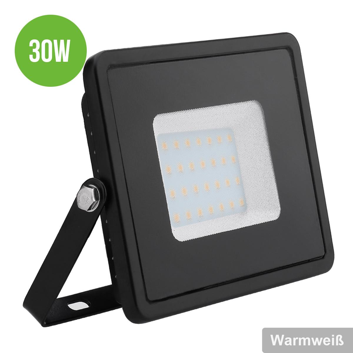 LED Fluter 30W, 2400lm Flutlichtstrahler, IP65 wasserdicht Warmweiß, ersetzt 75W Hochdrucknatriumlampe, Scheinwerfer, LED Außenleuchten
