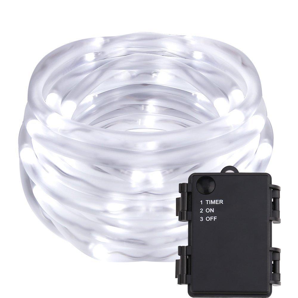 LED Schlauchlicht, Lichterkette mit Farbwechsel, Batteriebetrieb Wasserfest Außenlichterkette, 5 Meter, Kaltweiß Weihnachts/ Hochzeitsbeleuchtung