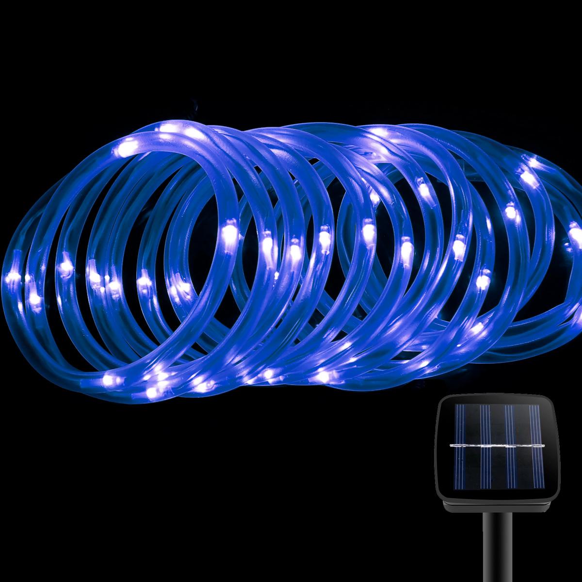 LED Lichterkette au?en, 5M mit Lichtsensor, Blau, Weihnachtsbeleuchtung, Wasserdicht,1,2V,  Portable