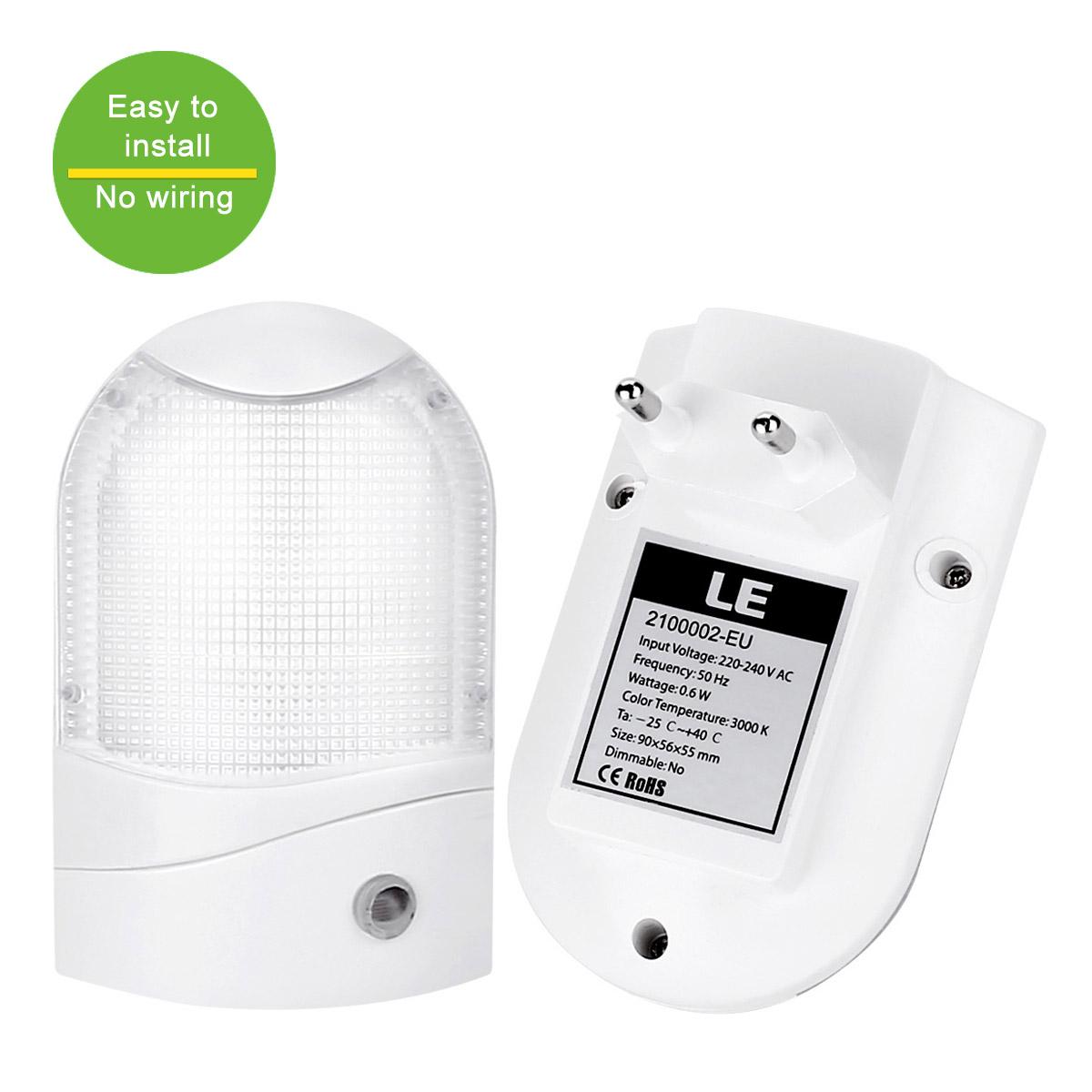 Nachtlicht mit Dßmmerungssensor, 6 LEDs 48lm, Steckdosenlampe, Warmweiß, 2 Stücke