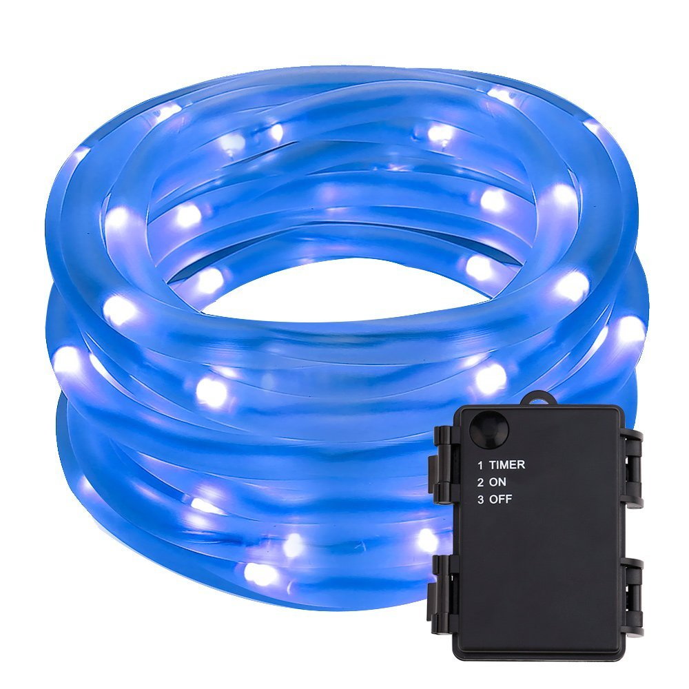 LED Schlauchlicht, Lichterkette mit Farbwechsel, 5M Batteriebetrieb Wasserfest Außenlichterkette, Blau Beleuchtung für Weihnachten, Hochzeit, Party