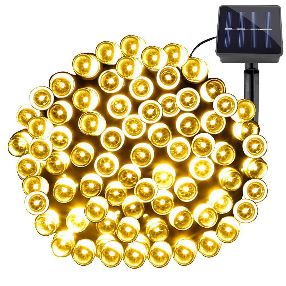 LED Solar Lichterkette, 200 LEDs, Wasserfest, 8 Einstellungen, 20M, Warmweiß, Batteriebetrieb Weihnachten/ Aussenbereich Dekobeleuchtung