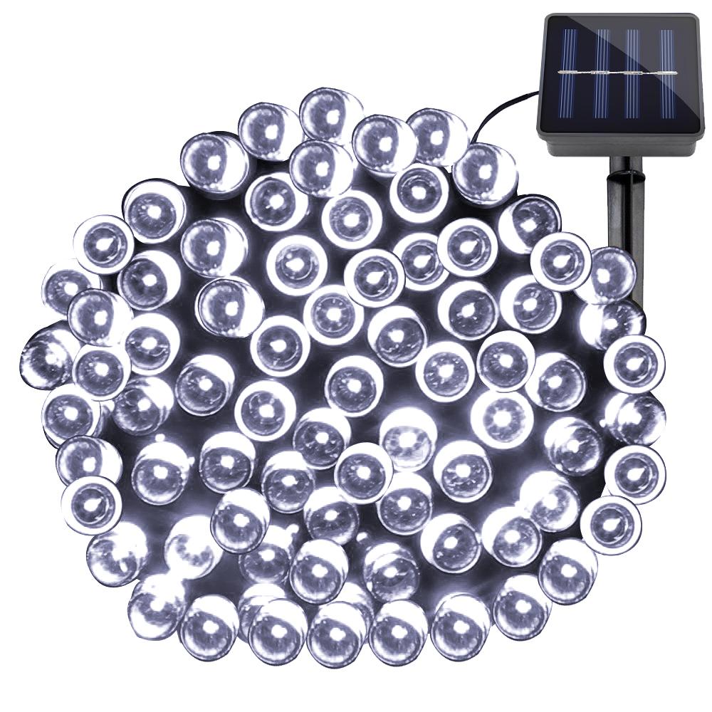 LED Solar Lichterkette, 200 LEDs, Wasserfest, 8 Einstellungen, 20M, Kaltwei?, Batteriebetrieb Weihnachten/ Aussenbereich Dekobeleuchtung