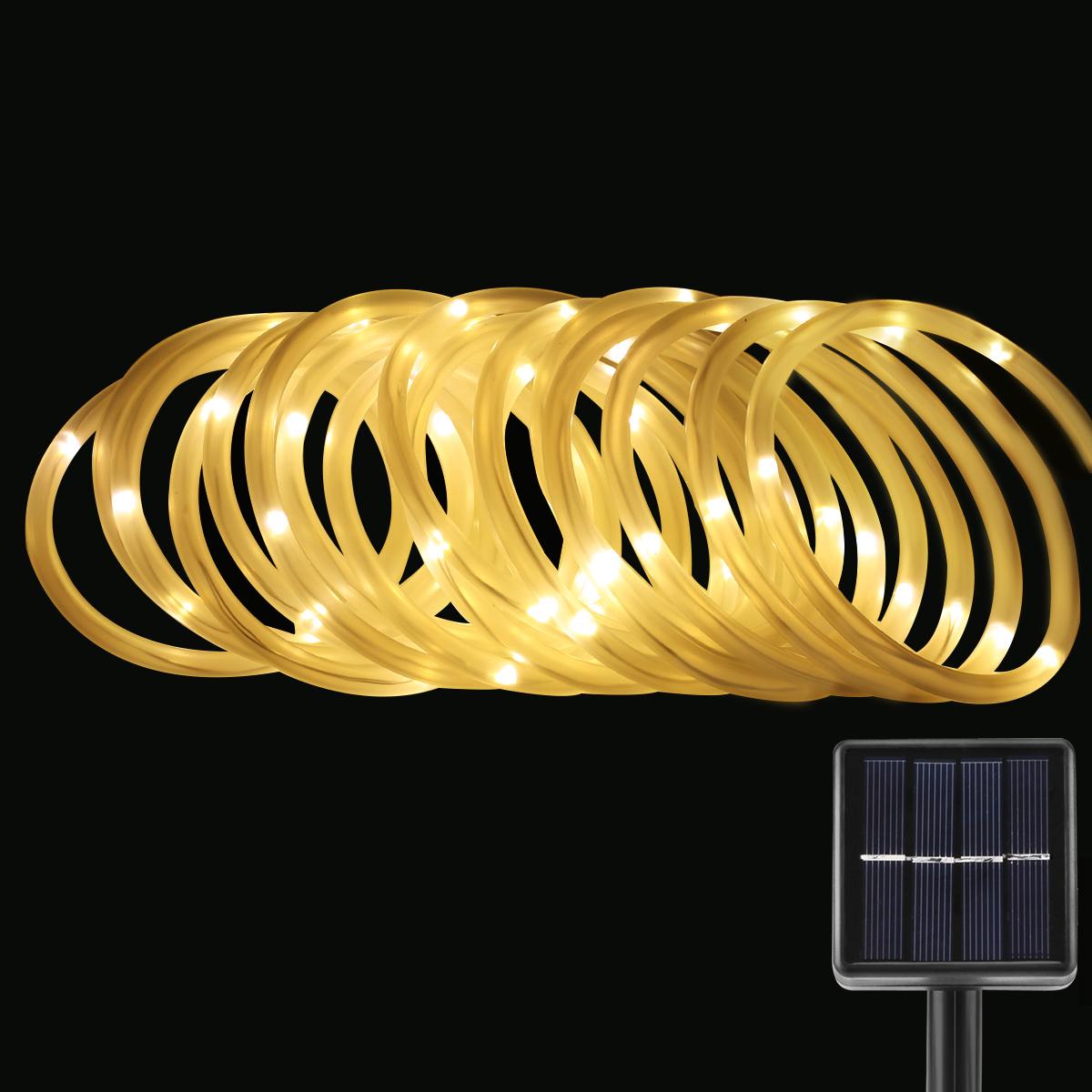LED Solar Lichterkette, 5 Meter, Wasserdicht, 50 LEDs, 1,2V, Warmweiß, mit Lichtsensor, Beleuchtung für Hochzeit