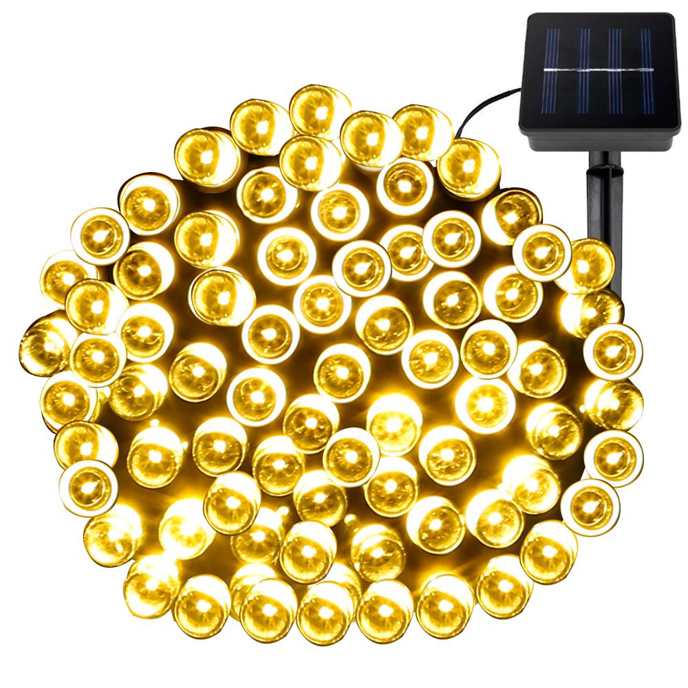 LED Solar Lichterkette mit Lichtsensor, 100 LEDs, 1,2 V wasserdicht, Warmwei?, tragbar, 15M, Weihnachts LED Lichterketten
